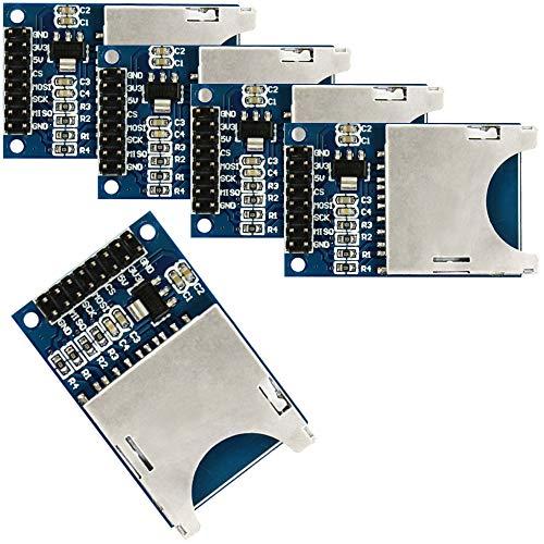 com-four® 5X SD Karten-Leser Modul SPI SD Card Sockel für Arduino ARM MCU (05 Stück)