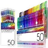 Set di penne glitter 100 di Chromatek. I migliori colori. 200% di inchiostro: 50 penne gel, 50 ricariche. Colori ultra luccicanti ultra brillanti. Nessuna ripetizione. Nuovo e migliorato.