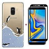 Laixin Coque pour Samsung Galaxy J4 Plus 2018 Étui Transparent Silicone Anti Choc...