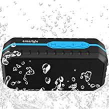 Esonstyle Mini Altavoz Bluetooth Portátil Inalámbrico Impermeable con 1800MAH Batería/Tarjeta TF/Manos Libres/Audio de 3.5mm para iPhone,Huawei, Samsung ,iPad,Tablet, PC Y Otros Dispositivos Bluetooth(Negro + Azul)