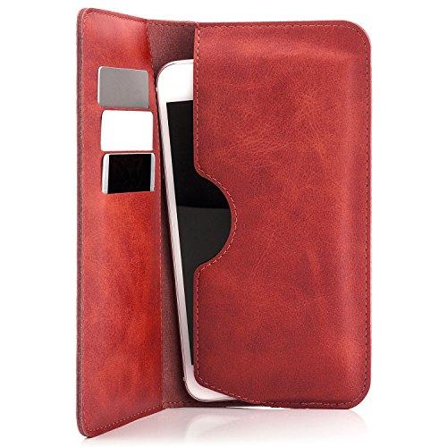 Saxonia Edle Tasche Etui Portemonnaie Premium Hülle Universal für Smartphones von 4 bis 5.5 Zoll für iPhone, Samsung, Huawei und mehr   Rot