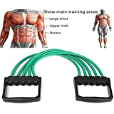 Chest Expander Puller Exercise Fitness Resistance Cable Rope Gym 5 Tube Resistance Bands