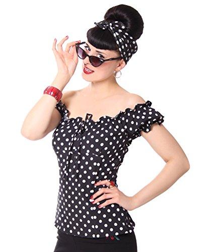 SugarShock Kailey 50er retro Polka Dots Carmen Shirt Puffärmel Bluse