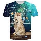 Loveternal Herren Galaxy Katze T-Shirt 3D Muster Gedruckt Casual Grafik Kurzarm Tops Tees S
