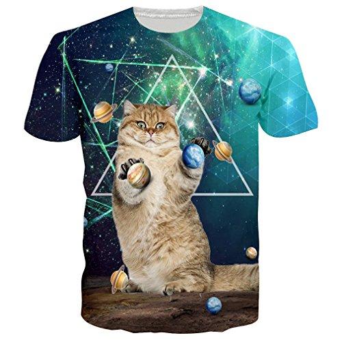 eed25bc6f47b RAISEVERN 3D Imprimió Camisetas Manga Corta Hombre Mujer Crew T-Shirt Funny  Casual tee Shirt L