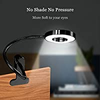 Clip on Light, HQOON LED Reading Desk Lamp on Bedside and Computer, Eye care Clamp Table Lighting, Cool Flexible Goose Neck Working Study Desktop Lamps For Home, Office, Black, USB, Metal, 7w by HQOON