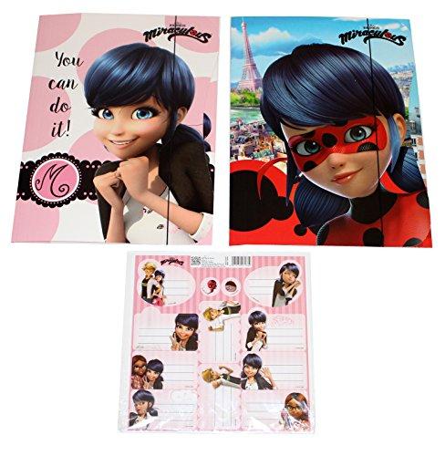 2 Stück Miraculous Ladybug Mappe mit Gummizug Sammelmappe + Sticker (Kitty High Noir Monster)