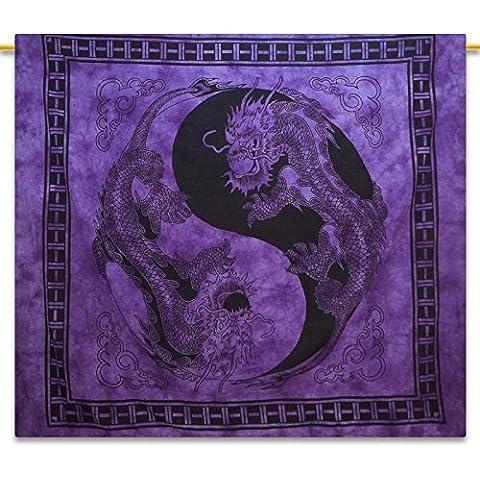 Handicrunch drago viola indiano Hanging tappezzeria del cotone Full Size Boho Decor Gettare 92