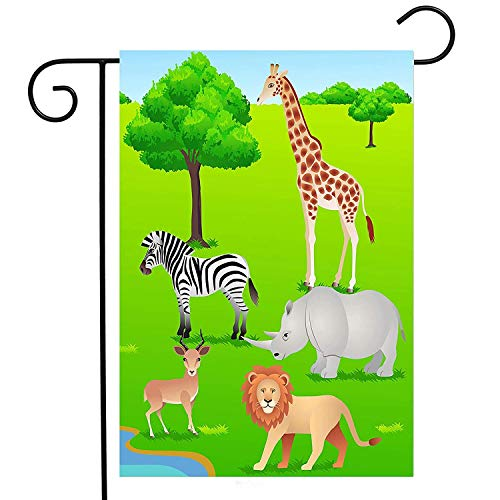 Animal Zebra Giraffe Lion Green Spring Summer Garden Yard Flag Double Sided, Africa Wildlife Polyester Welcome House Flag Banners for Patio Lawn Outdoor Home Decor(Size: 12.5inch W X 18 inch H) - American Zebra Line