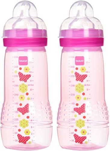 MAM 950501 Baby Bottle, Biberon da 330 ml, Confezione Doppia, Colori Assortiti, Bambina