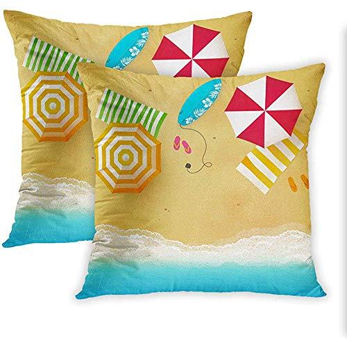 DayToy Set mit 2 Dekokissenbezügen Print Beach Waves mit Regenschirmhandtüchern und Kissenbezug zum Thema Surfbrettschwimmen für die Sommersaison