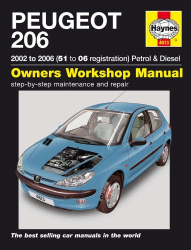 Manuel d'Entretien pour Peugeot 206 Essence 1.1 1.4 1.6 2.0 et 1.4 HDI 1.9 HDI 2001–2006 (en anglais)