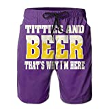 fjfjfdjk STLYESHORTS Titties & Beer That's Why I'm Here Men's Polyester Surf Board Beach Home Shorts Swim Quick Dry XX-Large