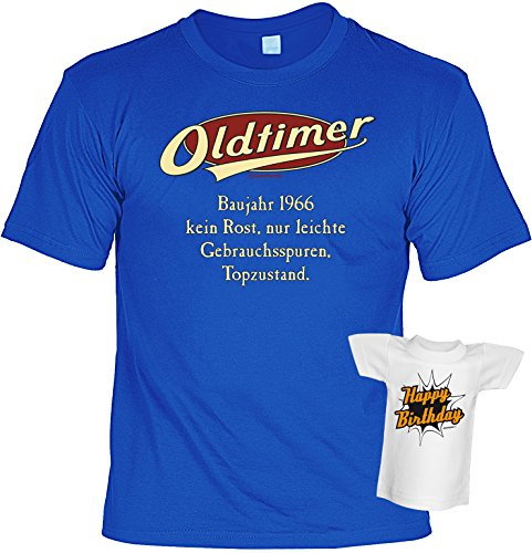 Fun T-Shirt - Geburtstagsgeschenk - Oldtimer - Baujahr 1966 - Im SET mit Mini T-Shirt - Royalblau Royalblau