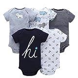 TUDUZ 5 Stücke Neugeborenes Baby Jungen Mädchen Print Kleidung Täglichen Spielanzug Playsuit Jumpsuit für 0-24 Monate (D, 0-6 Monate)
