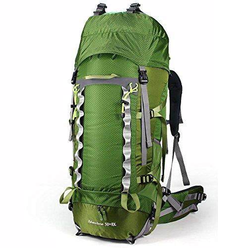ROBAG Outdoor 50 + 10L Uomini e donne di viaggio doppio spallamento di rinforzo impermeabile camminando campeggio grande capacità sport borsa da montagna , orange green