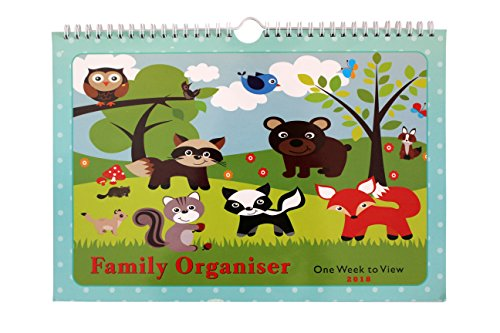 2018 Family Organiser Calendar - One Week to View Planner - Space For up to 5 People by Arpan (2018 - Woodland Animals)