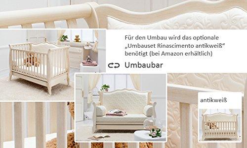 Besonderes Babybett 63×123 | Umbaubett mit gepolsterter Rücklehne Rinascimento antikweiß – erweiterbar zur Couch - 4