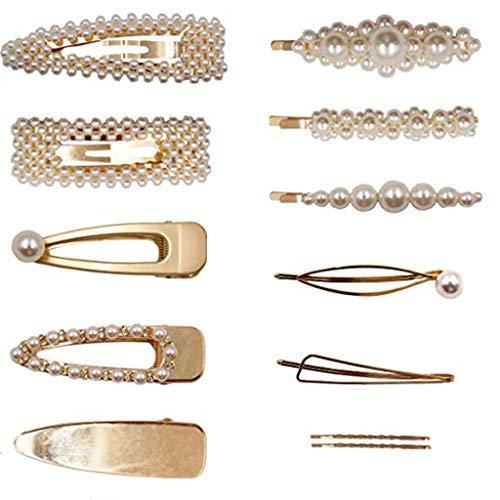 Lomsarsh Internet Promi Beliebte Perle Haarspange - 12 verschiedene Formen Pack Perle Haarspangen Frauen Gold Haarnadeln Zubehör Hochzeit Braut Snap Haarnadeln Für Damen