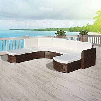 Amazon.de: Poly Rattan Gartenmöbel Lounge Set halbrund weiß