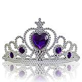 Katara 1682 - Diadema de Princesa Accesorio de Disfraz Corona de Cuentos de Hadas - Plateada con Cristales, Violeta