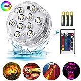 Lumières LED submersibles avec télécommande IR,lampe de spa sous-marine alimentée par une batterie AAA pour base de vase,étang,fête,piscine et décorations pour la maison 1pc