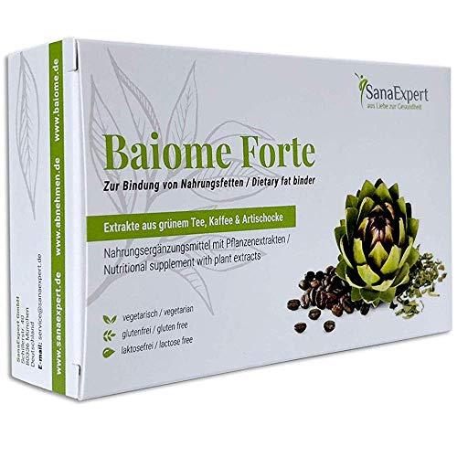 SanaExpert Baiome Forte, Pflanzlicher Fettbinder mit Artischocken-, Kaktus-, Grüntee- und Grüner Kaffee Extrakt, Kapseln, 60 Stück