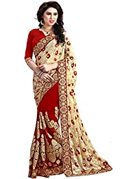 Sareeshop Women's Georgette Saree With Blouse Piece (1118-Party Wear Sarees_Red And Beige)