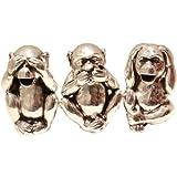 See No Evil, Hear No Evil, Speak No Evil Silver Monkey Money Boxes (Set)