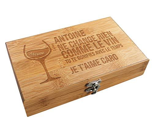 Coffret Sommelier accessoires Vin Citation - Coffret cadeau vin personnalisable et ses accessoires