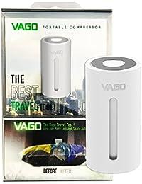 Vago–Compresor portátil color blanco; Ahorra 50% espacio, se puede comprimir, pequeño, fácil, inteligente y rápido.