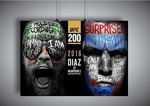 Plakat UFC Conor Mcgregor gegen Nate Diaz Wand Kunst Abbildung 2