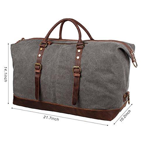 S-ZONE Durante la notte Weekend Satchel borse del sacchetto totes di cuoio Mens Canvas Borsone Duffle di corsa grigio
