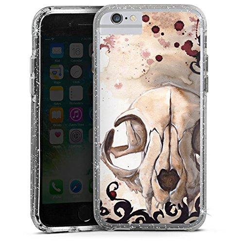 Apple iPhone 8 Bumper Hülle Bumper Case Glitzer Hülle Katzenschädel Totenkopf Skull Bumper Case Glitzer silber