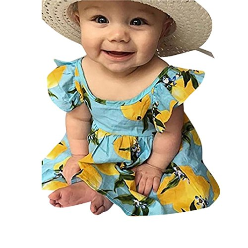 ❥Elecenty Kinder Prinzessin Kleid Mädche,Zitrone Drucken Kleider Lose Tutu Rückenfrei Maxikleid Baby Rüschen Ärmellos Partykleid Sommerkleid Strandkleid Knielänge Kinderkleidung (100, Grün) (Spitze Zitrone)