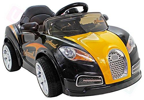 moleo 5902721180861 Smile Kinder Auto Elektroauto Kinderauto Kinderfahrzeug Elektrofahrzeug mit Frontlichtern, verschiedenen Soundeffekten und Fernbedienung, Farbe: Black, beige thumbnail