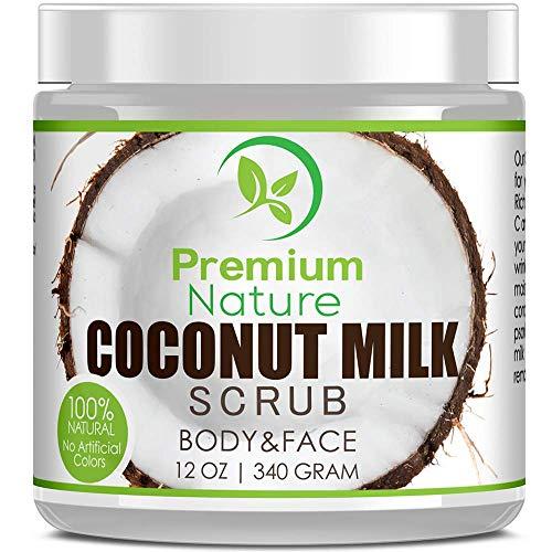 Kokosmilch Körperpeeling Coconut Body Scrub - Premium Nature Kokosnuss Peeling Haut Körper & Gesicht mit Totes Meer Salz & Shea Butter Akne & Cellulite Gesichtspeeling Lippenpeeling Duschpeeling -