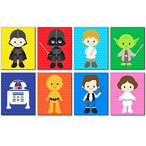 Star Wars Kinder Art Prints-Set von 8-8x 10Liebenswürdig, Fotos-Kinder Zimmer Oder Kinderzimmer Wandtattoo Decor