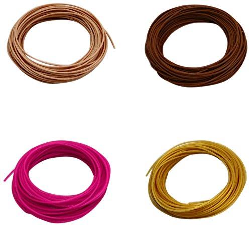 Pack de 4 muestras de filamento flexible y elástico TPU FilaFlex 82A original de Recreus para impresora 3D. 1.75 mm. 200 gr. Sample Pack 4 con 4 colores de 50 gr. Magenta, oro, piel 1, piel 2