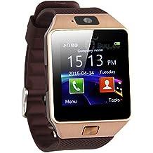 Hightechnology® - Reloj inteligente táctil SmartWatch con Bluetooth y cámara de 2mp, Android (llamada, mensajes,mp3, micro SD, agenda, despertador, monitorización del sueño, localizador anti-pérdida, multifunción), compatible con Samsung, Sony, Wiko, LG, Archos, HTC, Huawei, Asus, Acer, color marrón y oro