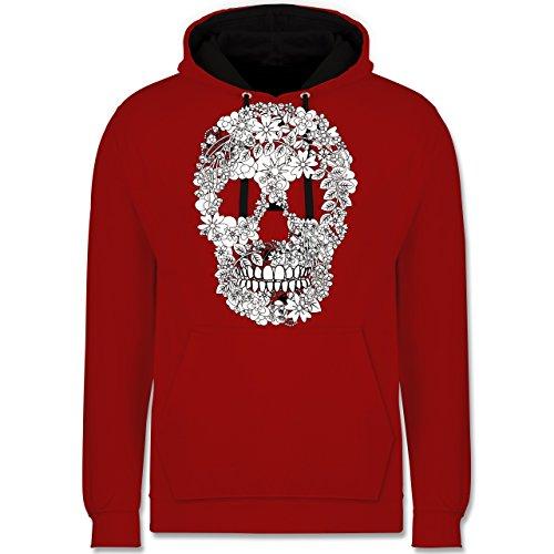 Rockabilly - Totenkopf Blumen Skull Flowers - Kontrast Hoodie Rot/Schwarz