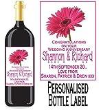 Etiqueta para botella de vino o licor de aniversario