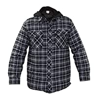 True Face Mens Padded Shirts Lumberjack Hooded Flannel Check Jacket Thick Quilted Work Wear Warm Thermal Top Casual Coat Size M-XXL (XXLarge, Grey/Black)
