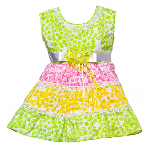 !!..Introductory Offer..!! Littly Baby Girl's Party Wear Little Petal Print Cotton Frock Dress With Panty (Green , 2 Years-3 Years)  available at amazon for Rs.399