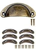 FUXXER - 6x Antik Schubladen Griff-Muscheln Bronze Eisen Design | Griff-Schalen für Schieber Schrank-Türen Buffets Truhen Kommoden Vintage Landhaus Retro Stil | 80x36mm inklusive 12 Schrauben 6er Set