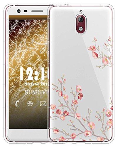 Sunrive Cover per Nokia 3.1, Custodia Case in Molle Trasparente Silicone Morbida Flessibile AntiGraffio Protettiva Cuscino d'Aria Back custodie(TPU Fiore)