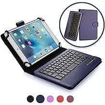 Funda con teclado Acer Iconia Tab 8 FHD, 8 W COOPER INFINITE EXECUTIVE Funda tipo carpeta 2 en 1, cuero, teclado Bluetooth inalámbrico, soporte + A1-840 W1-810 (Azul oscuro)