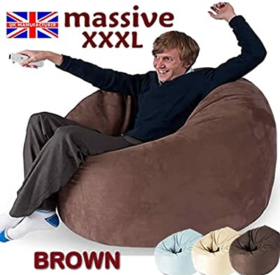 HUGE BROWN MEGA SIZE BEAN BAG 16CUFT BEANBAG GAMING CHAIR FAUX SUEDE