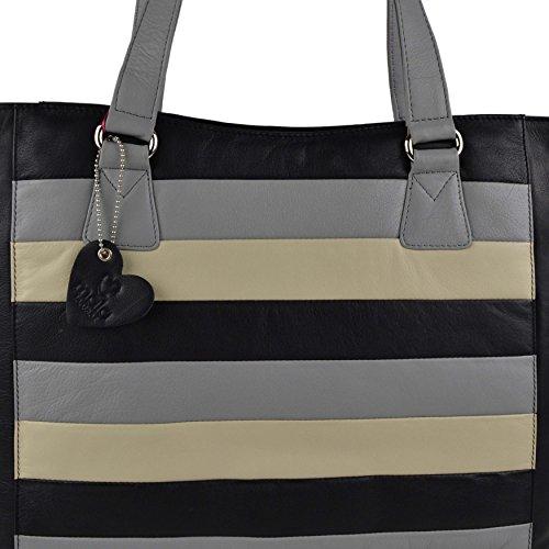 Mala Leather, Borsa a spalla donna Blu Marrone large Multi nero