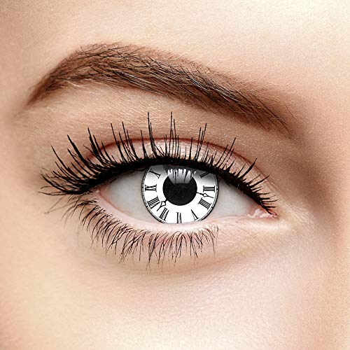 Tick Tack Halloween Farbige Kontaktlinsen Ohne Stärke Weiß -